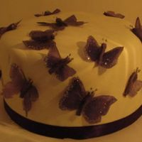 Purple Butterflies This was a single cake for a cookout.