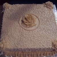 "Bridal Shower The cake is a 14"" square cake with double layers, the frosting is a ivory swiss meringue buttercream."