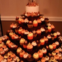 Fall Wedding Cake And Cupcakes They wedding theme was fall and the leaves color. Every cupcake has a fall leaf on it and the cake on top had fall leaves around it.