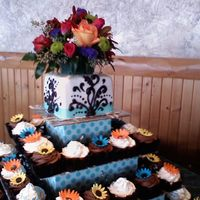Autumn Wedding The main colors for the bride were brown and blue but we picked colors out of her flowers to put on the cupcakes. These cupcakes are square...