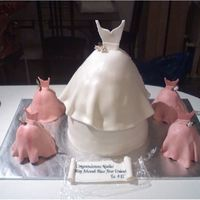 Wedding Gowns And Bridemaids Dresses   I made this for a bridal shower... chocolate cake and cookies and cream icing