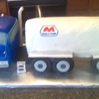 Semi Truck And Trailer Okay, so I learned from all my mistakes, but I hope I won't need to do another one! LOL, chocolate cake cut from 11x15, cab covered in...