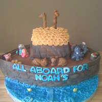 "Noah's Cake I love this cake! Carved from a football pan and a 9x13, covered and decorated in fondant. ""water"" is buttercream with piping gel..."