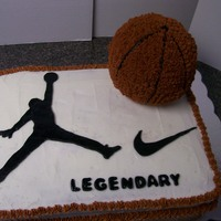 Basketball Birthday Cake Done for a friend's birthday. Image and name are done in fondant. Rest of cake is buttercream icing and basketball is done with mini...