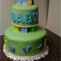Baby Shower Baby shower cake with fondant.