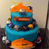 Fantasy Football Draft Cake This cake was done for our fantasy football draft party. Two tiered cake done with fondant over buttercream. The colors were used for the...