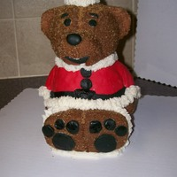 Christmas Teddy Bear This cake was done using the teddy bear pan from WIlliams Sonoma glazed with sugar. The outfit and hat was done in fondant and the white is...