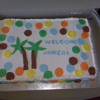 King Of The Jungle Jungle themed to match the baby shower decorations. White cake filled fresh strawberry and cream and covered in whipped topping with...