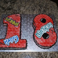 18Th Birthday Cake I snagged this idea from Daisy Lane Cakes. I carved the numbers out of 2 10x15 WASC sheet cakes and cut out a brick wall stencil for...