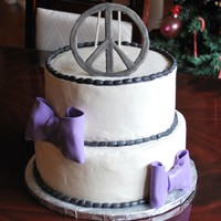 Peace Birthday Cake This was for my daughters birthday. Bottom is 2 10 inch yellow butter, top is 2 8 inch chocolate covered in buttercream. These are the...