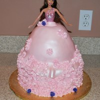 "Barbie Cake This is my first Barbie cake and the first time trying MMF. I borrowed the idea from Carrie Bush. The bottom is a 10"" round and the..."