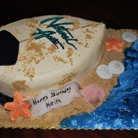 Surfboard Cake Cake is dark chocolate and french vanilla buttercream. The lettering is my first attempt at a frozen buttercream transfer. The shells are...