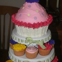 Cupcake Cake With Tiered Stands With More Cupcakes! a friend wanted this look for her baby shower although its perfect for a birthday. I wanted to do a tiered cake but had to travel and make...