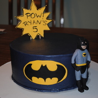Batman My attempt at modeling Batman for a 5th b-day. Buttercream frosting with Fondant accents.