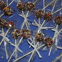 V.i.p Pops Cake pops for my son's birthday week at school. Dipped in chocolate with sprinkles. My first try at cake pops. More time consuming...