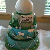 Fun Fundraising Golf Cake Biggest challange ever! 3 tiers with edible ball on top. Everything is edible. Please feel free to ask any questions!