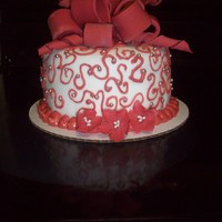 Red Scroll Cake Small Red scroll cake done for a couple celebrating their one year anniversary Lemon cake with fresh raspberry and buttercream filling