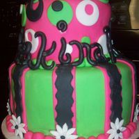 Festive And Bright This cake was made for a girl turning 13 who loved bright green and bright pink as well as gerber daisies and white guitars!....Her name is...