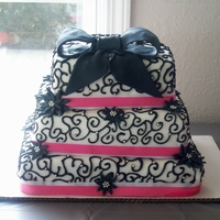 Black Scroll Bridal Shower Cake