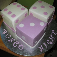 "Bunco Dice Game Night Cake Cake for my aunt's bunco game night. 5"" squares with my own fondant, colored lavender using just a touch of Duff electric colors..."