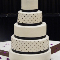 Off White And Brown Polka Dot Buttercream Wedding Cake