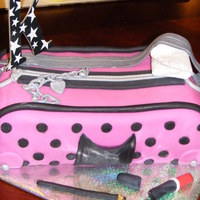 Hot Pink Polka Dot Purse With Make Up