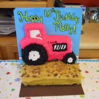 Pink Tractor Birthday Cake I did this cake for my best friend's 16th birthday. She and I usually fuss over which kind of tractor we like better and even though I...