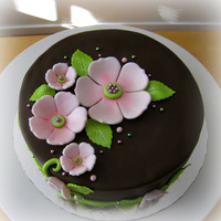 Pink Flowers On Brown Cake  Brownie layers with coconut mousse and chocolate ganache. Covered chocolate fondant. Flowers and leaves are fondant and I also added a few...