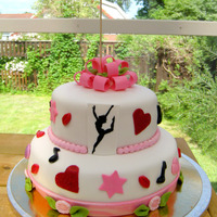 15Th Birthday - Dance And Love Theme My niece asked for a dance and love themed birthday cake. Handpainted silhoutte. Covered in fondant and decorations are gumpaste/fondant....