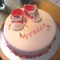 Pink Converse Pink converse cake for little Stella. All fondant and shoes are 50/50 gp/fondant. Filled with raspberry mousse and white chocolate whipped...