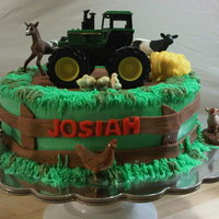 Farm Cake 10inch round BC with fondant decorations. The mom bought the animals and tractor for the cake.