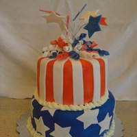 4Th Of July Cake 4th of July Cake. It was a white cake and I marbled the inside to be red, white & blue.