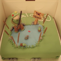 "Fishing 10"" sponge, figures fondant, rod fondant covered bamboo skewer thanks to advice from here. Looked at loads of fishing cakes for..."