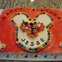 Mickey Mouse Birthday Cake  This is a Mickey Mouse cake I made for a two year old's birthday. I used a whipped topping for the frosting and M&Ms for a little...