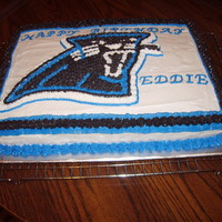 Panthers Birthday Cake This was a yellow cake with buttercream icing. The lady wanted a panter scene for her husband.