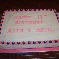 Birthday Cake Pound Cake ' 1/2 sheet cake. Mother wanted twins favorite colors of pink and purple.