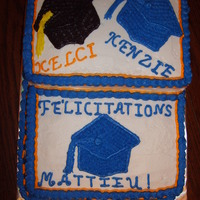 Graduation I had 3 grandchildren that graduated from 3 different schools. I made a yellow 1/2 sheet for the bottom, and yellow stacked on top. I used...