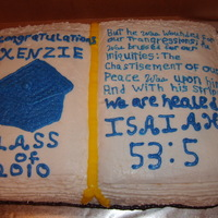 "Grandaughters Favorite Scripture For Her Graduation Cake This cake was a yellow cake with butter cream icing. I used 1/2 sheet cake and cut the ""Book"" out. This is her favorite scripture..."