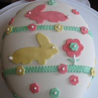 Easter Egg Marshmallow fondant and used cookie cutters for the rabbits..the egg shape was sculpted.