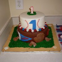 First Birthday Baseball Cake I made this cake for my son's first birthday. The bottom layer was chocolate cake with chocolate MMF and chocolate buttercream, and...