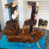 Pirate Ship Birthday Cake This is a pirate ship cake I did for my son's 4th birthday. It is about 2 ft by 2 ft, and it took me about 3 days to do. If you look...