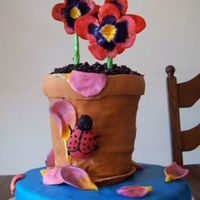 Flower Pot Cake This is a 100% edible cake besides the dow pins and a little wire.