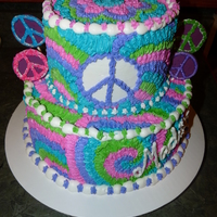 Tie Dye Peace Made for a tie dye and peace themed birthday party for a 9 year old. The peace signs on the cake are made from chocolate (on popsicle...