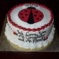Ladybug Cake Made this for a preschool class end-of-school party. The theme was the Grouchy Ladybug. Buttercream transfer.