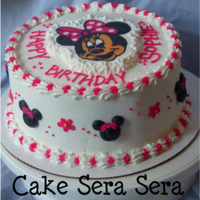 Minnie Mouse Fbct White cake iced in buttercream w/ buttercream transfer