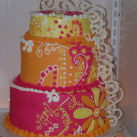 Orange, Pink & Yellow Floral & Swirl Made for a 40th birthday with a luau/floral theme in these colors. Accents are made from white chocolate.
