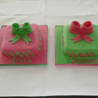 Green And Pink Birthday Sponge cake covered in fondant