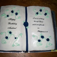 Bible Cake   buttercream with edible image bible verse and happy bday fondant roses