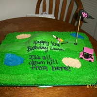 Over The Hill Golf Course buttercream with fondant accents, vanilla wafers for sand traps