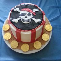 Pirate Cake buttercream icing with fondant stripes and top. skull is BCFT. thanks to sugarshack and lesyorkwolf for the fantastic ideas